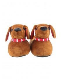 Womens Brown 3D Sausage Dog Slippers