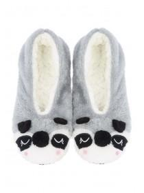 Womens Grey Racoon Footlet Slippers