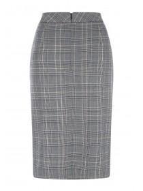 Womens Brown Check Pencil Skirt