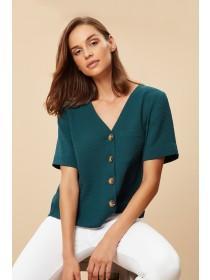 Womens Teal Button Through Shirt