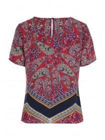 Womens Red Paisley Print Top