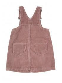 Younger Girls Pink Cord Pinafore Dress