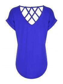 Womens Cobalt Blue Lattice Back T-Shirt