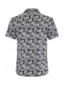 Mens Black Leaf Print Short Sleeve Shirt