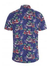 Mens Navy Novelty Christmas Shirt