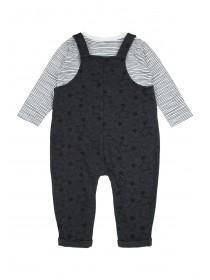 Baby Boys Grey Star Dungaree and T-Shirt Set