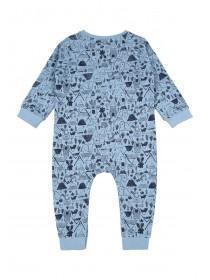 Baby Boys Blue Woodland Onesie