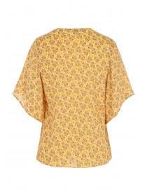 Womens Yellow Floral Kimono Wrap Top
