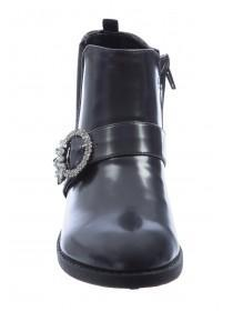Older Girls Black Diamante Buckle Boots