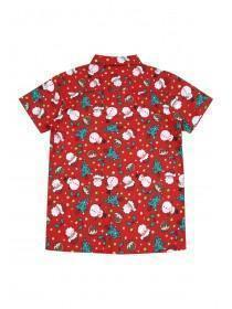 Older Boys Red Short Sleeve Christmas Shirt