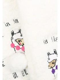 Womens 1pk Cream Llama Slipper Socks
