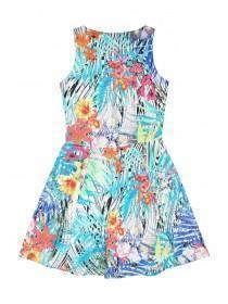 Older Girls White Tropical Print Skater Dress