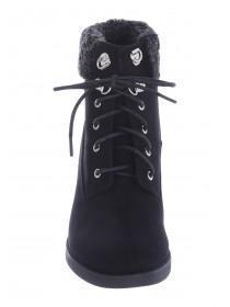 Womens Black Heeled Hiker Boots
