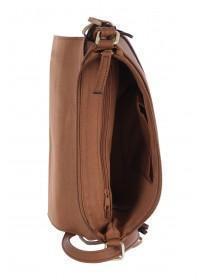 Womens Tan Studded Tassel Across Body Bag