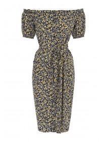 Womens Monochrome Floral Bardot Dress