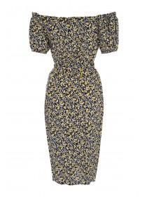 Womens Monochrome Floral Bardot Dress