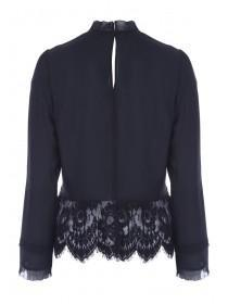 Womens Black Lace Long Sleeve Top