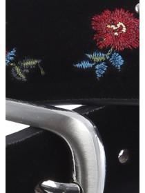 Womens Black Embroidered Belt