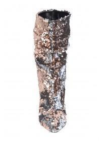Womens Gold Sequin Calf Length Boots