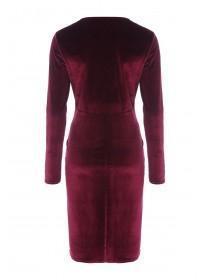 Womens Wine Velvet Wrap Dress