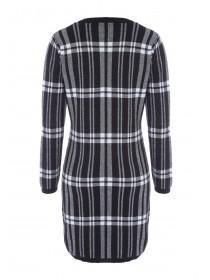 Womens Monochrome Lurex Check Jumper Dress