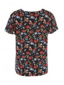 Womens Black Floral Angel Sleeve Top