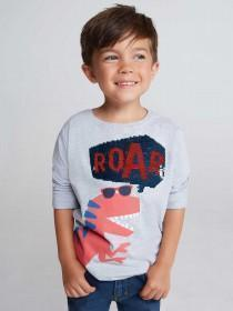 Younger Boys Grey Dinosaur Flip Sequin T-Shirt