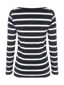 Womens Monochrome Stripe Envelope Neck Top