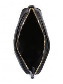 Womens Black Leopard Print Dome Across Body Bag