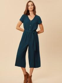 Womens Teal Button Front Cropped Jumpsuit