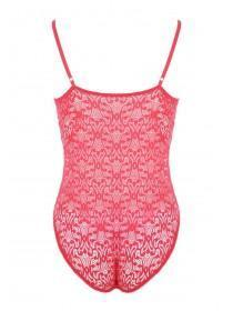 Womens Red Lace Bodysuit