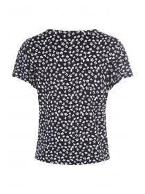 Womens Monochrome Floral Button Up Top