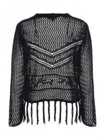 Womens Black Crochet Cardigan