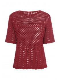 Womens Burgundy Crochet T-Shirt