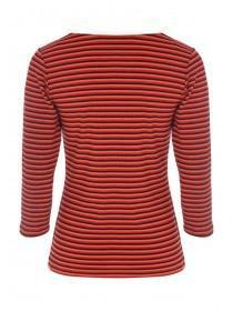 Womens Orange Stripe Button Front Rib Top
