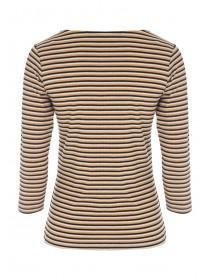 Womens Mustard Stripe Button Front Rib Top