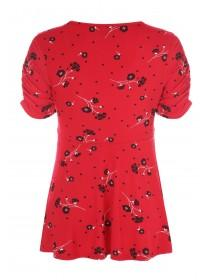 Womens Red Floral Ruched Front Top
