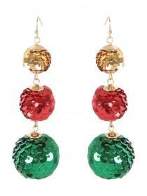 Womens Multicolour Sequin Bauble Earrings