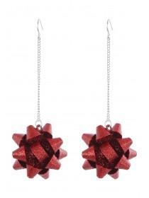 Womens Red Glitter Bow Earrings