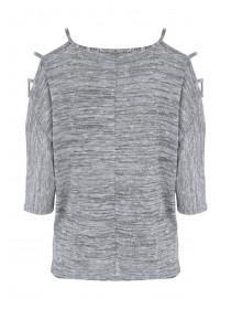 Womens Grey Shimmer Cold Shoulder Top