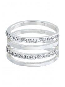 Womens Four Band Diamante Ring