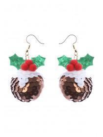 Christmas Pudding Sequin Earrings