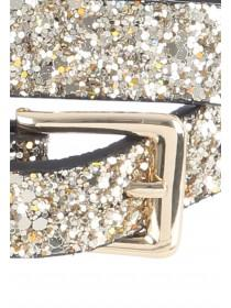 Womens 2pk Gold Glitter Skinny Belts