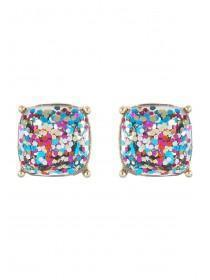 Womens Multicolour Glitter Stud Earrings