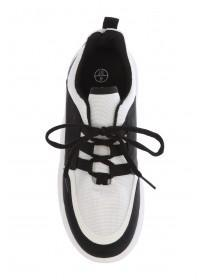 Womens Monochrome Lace Up Chunky Runner Trainers