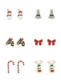 Womens 6pk Christmas Stud Earrings