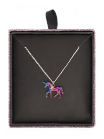 Womens Oil Slick Unicorn Pendant Necklace