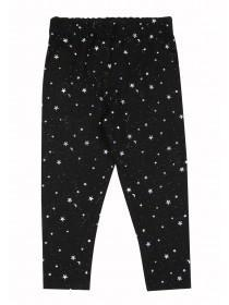 Younger Girls Black Glitter Leggings