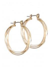 Womens Gold Double Layered Hoop Earrings