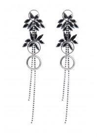 Womens Black Gem Flower Duster Earrings